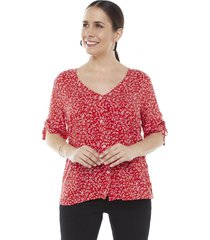 blusa tiras manga rojo flores corona