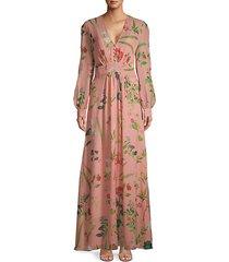 botanical-print silk maxi dress