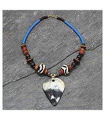 horn and ceramic pendant necklace, 'yabpoka' (ghana)