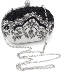 bolsa clutch liage oval pedraria cristal/brilhantel preta branca/prata