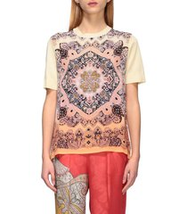 etro sweater etro shirt with short sleeves and ethnic print