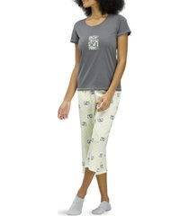 hue cat print capri pajama set