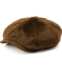 unisex coppola ottagonale in velluto caldo in colore a tinta unita con protezione da sole berretto da newsboy