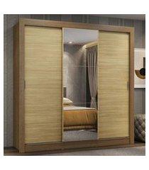 guarda-roupa casal madesa mônaco 3 portas de correr com espelho - rustic/carvalho marrom