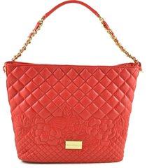ermanno scervino red quilted eco-leather shoulder bag