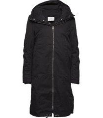 steal coat gevoerde lange jas zwart just female
