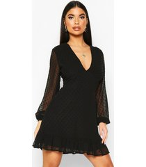 petite dobby mesh plunge bodycon dress, black