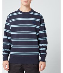 acne studios men's striped face sweatshirt - navy blue - xl