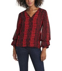women's billowing sleeve snake charm print v-neck blouse