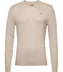 hco. guys sweaters stickad tröja m. rund krage beige hollister