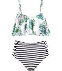 leaf print striped strappy flounce bikini swimsuit