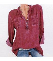 zanzea la manera tapas del cordón del remiendo botones de la camisa de manga larga de las mujeres blusa ocasional rojo -rojo