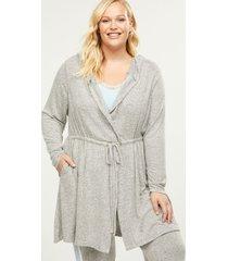 lane bryant women's brushed jersey sleep robe 14/16 grey