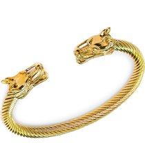 jean claude men's dell arte goldtone stainless steel & beaded dragon head bangle bracelet