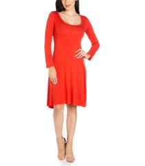 women's classic long sleeve flared mini dress