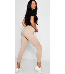 basic jumbo geribbelde leggings met hoge taille, steenrood
