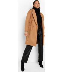 nepwollen jas met dubbele knopen en zak detail, camel