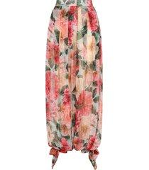 dolce & gabbana camellia print chiffon harem pants - pink