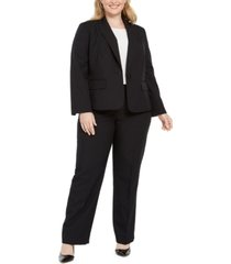 le suit plus size pinstripe one-button pantsuit