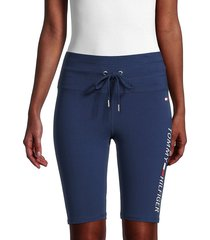 tommy hilfiger sport women's high-rise logo shorts - deep blue - size xs