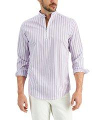 alfani men's striped popover shirt, created for macy's