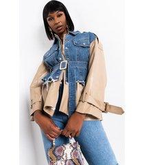 akira sleek and all denim belted jacket