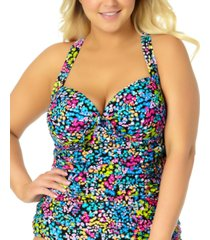 california waves trendy plus size ditsy floral tankini top, created for macy's women's swimsuit
