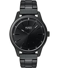 hugo men's #dare black stainless steel bracelet watch 42mm