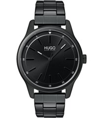hugo men's #dare black stainless steel bracelet watch 42mm