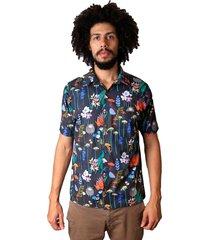 camisa andy roll cartoon flora preta - kanui