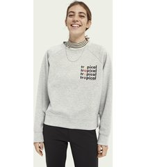 scotch & soda grafische sweater met ronde hals