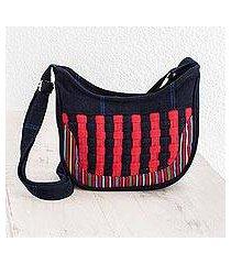 recycled cotton hobo handbag, 'harmonious rain' (guatemala)