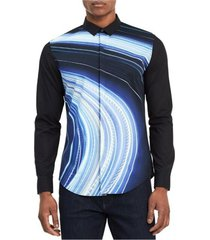 camisa azul calvin klein light blur print shirt