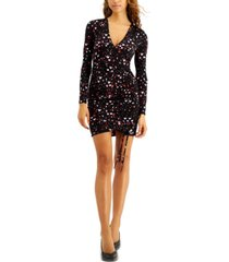bar iii heart-printed ruched-hem mini dress, created for macy's