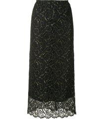 beaufille lace maxi skirt - black
