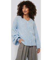 na-kd short chunky knit cardigan - blue