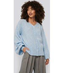 na-kd trend short chunky knit cardigan - blue
