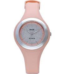 los angeles – orologio rosa con quadrante glitter in acciaio e ghiera argentata per donna