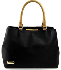 bolsa tiracolo/mão com dois compartimentos em material sintético e couro maria adna preta