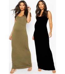 maternity 2 pack maxi dress, khaki