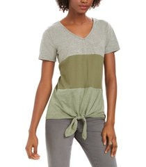 style & co colorblocked mixed-media tie-front top, created for macy's