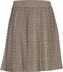 fqcloe-sk-stripe-dots kort kjol brun free/quent