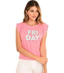 camiseta friday rosa ragged pf51120590