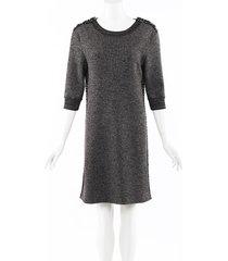 chanel glitter wool cashmere knit tweed dress gray/metallic sz: m