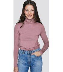 höghalsad tröja i mjuk modal - ljusrosa