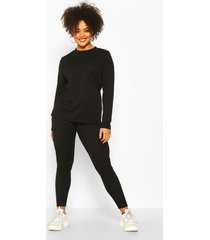 plus rib long top + legging co-ord, black