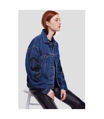 jaqueta jeans com patch brilho jeans medio