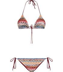 missoni mare zig-zag stripe knit bikini set - blue