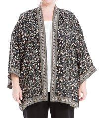 max studio women's printed woven crepe kimono - black multi - size 1x (14-16)