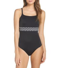 women's amoena cocos pocketed one-piece swimsuit, size 14c - black